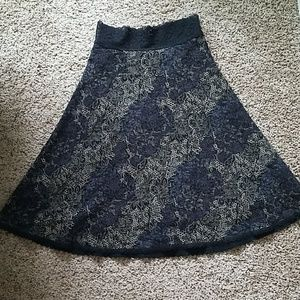 CAbi A-line floral skirt with lace waist